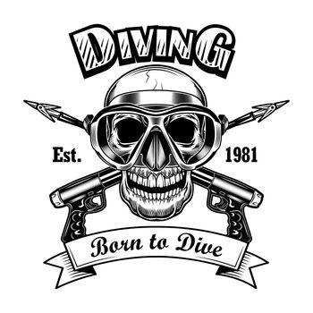 Underwater hunter skull vector illustration