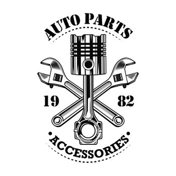 Vintage car parts vector illustration
