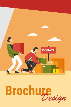 Volunteers donating stuff in boxes for poor people