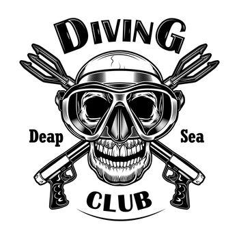 Underwater hunter vector illustration