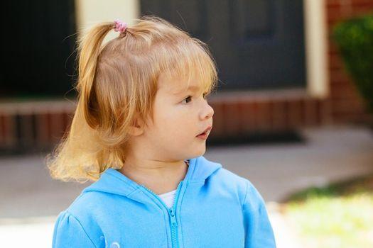 Spring girl in blue blouse