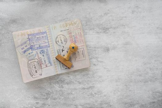 Passport pages with a lot of visa stamps.
