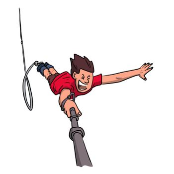 Young man doing a bungee jump with selfie stick in hand illustration vector isolated on white background.