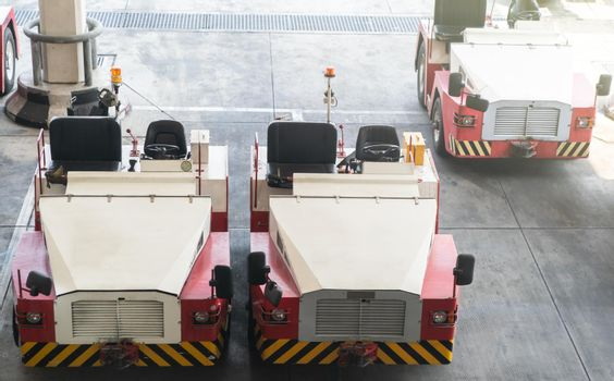 Freight trolleys parking standby in airport. service vehicle.