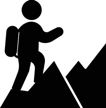people hiking vector glyph flat icon