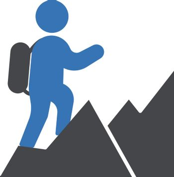 people hiking vector glyph colour icon