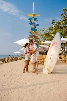 Bangsaen Chonburi Thailand beautiful beach club seafood beach club Bangsaen, people relax on the beach