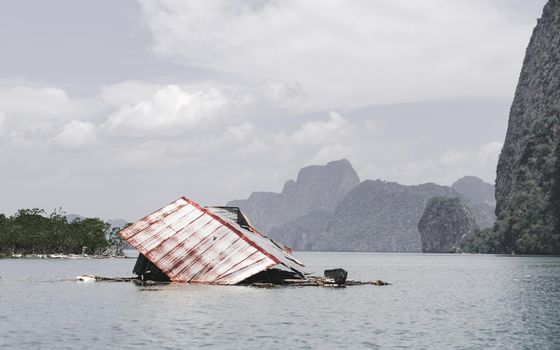 House collapse in the ocean water neat mangrove, Phang nga bay, Thailand.