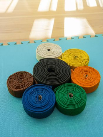 Martial arts colored belts on a tatami background.