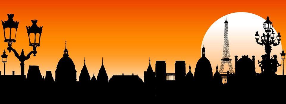 Paris at sunset silhouette city architecture