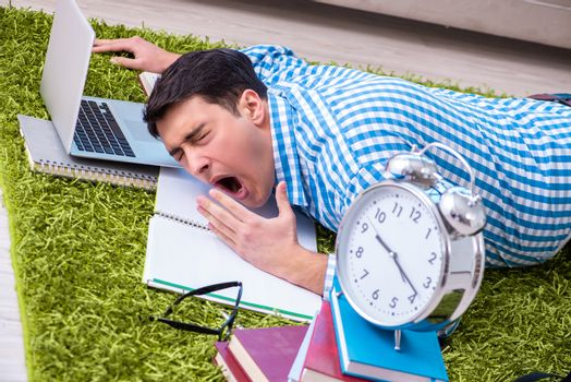 Student having little time to prepare for exams