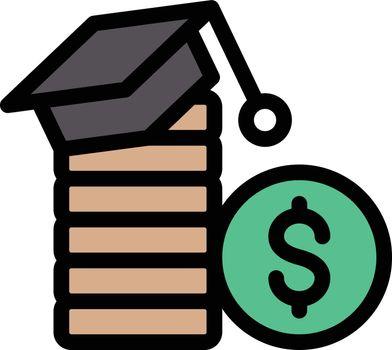 dollar education vector line colour icon