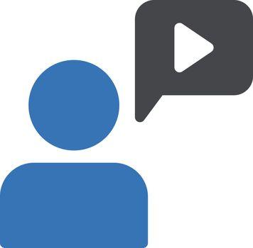 education video vector glyph colour icon