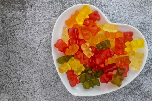 Jelly beans on the heart figured plate.