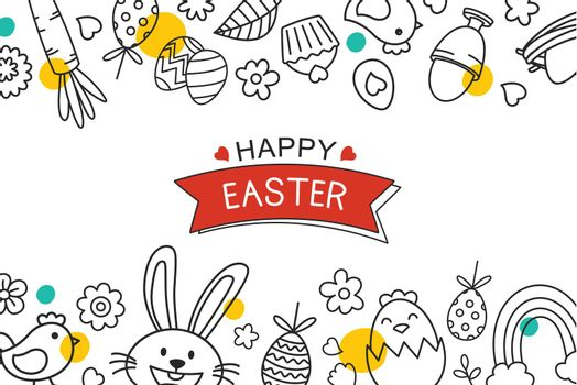 Easter flyer and banner template with decorative object element. Easter egg greeting card and poster background.