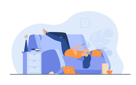 Lazy depressed woman resting in couch with smartphone
