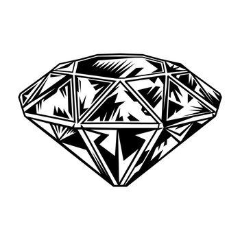 Retro monochrome tattoo diamond