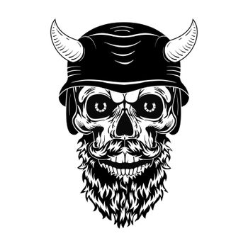 Retro skull in helmet with horns