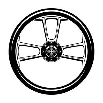 Retro motor bike wheel vector illustration