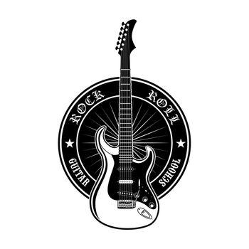 Round sticker for guitar school vector illustration