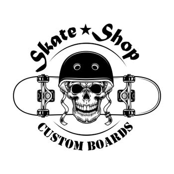 Skate shop label vector illustration