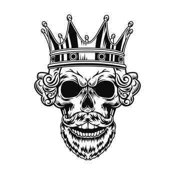 Skull of king vector illustration