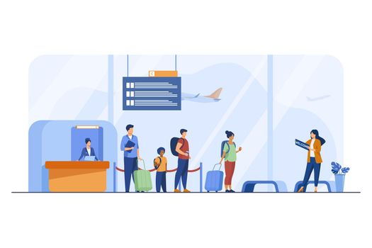 Passengers with luggage in airport flat illustration