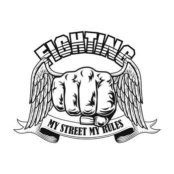 Street fighter badge vector illustration