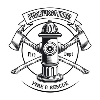Firefighter stamp with hydrant vector illustration