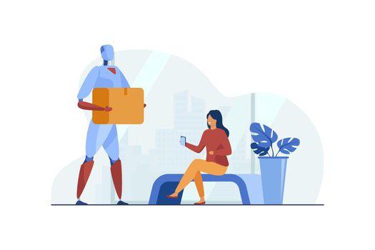 Robot delivering parcel to woman flat vector illustration