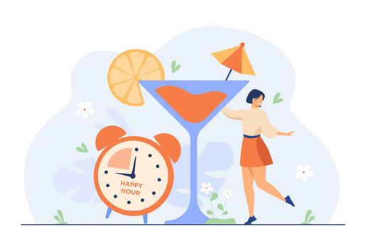 Smiling tiny woman drinking alcohol in happy hours