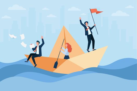 Successful business leader with flag sailing boat