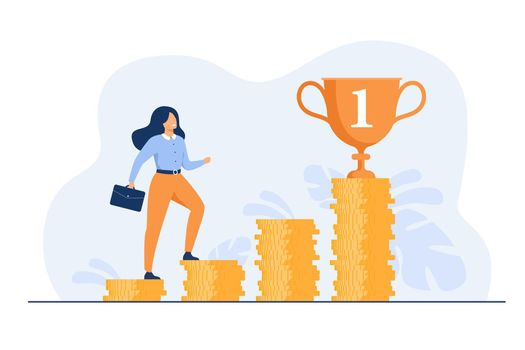 Successful woman climbing stairs from stacks of coins
