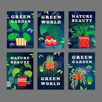 Green world flyer design set
