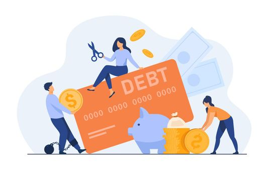 Tiny people in trap of credit card debt