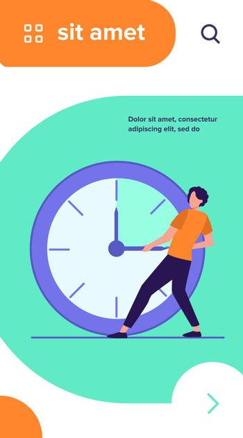Guy moving clock hands