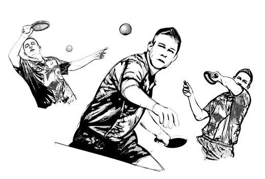 table tennis trio