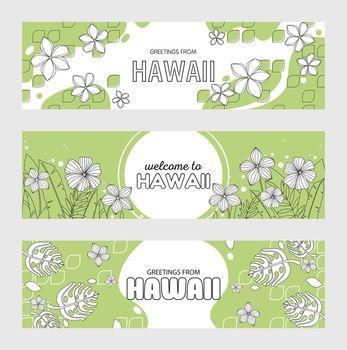 Trendy Hawaiian greeting flyers
