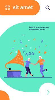 Happy old people dancing