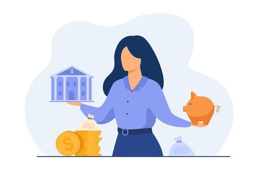 Woman choosing between bank and piggybank