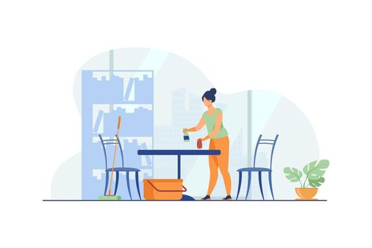 Woman cleaning and washing home