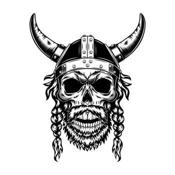Viking skull in horned helmet vector illustration