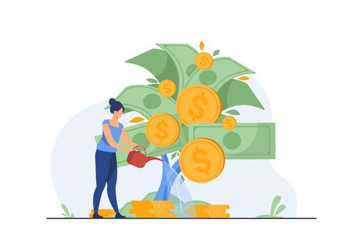 Woman investing and getting profit