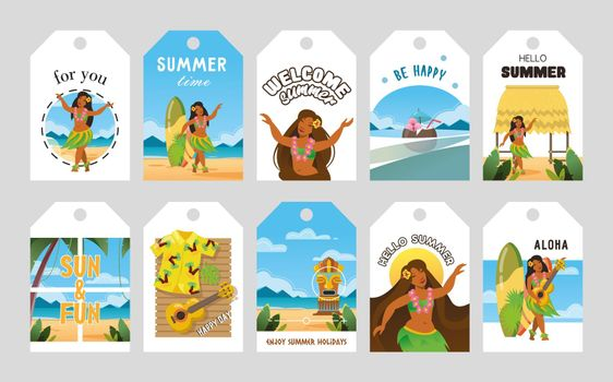 Vivid promo tags design for Hawaii