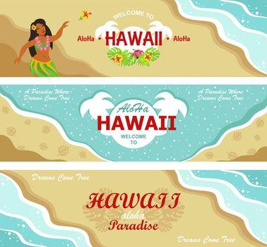 Hawaii welcome flyers design set