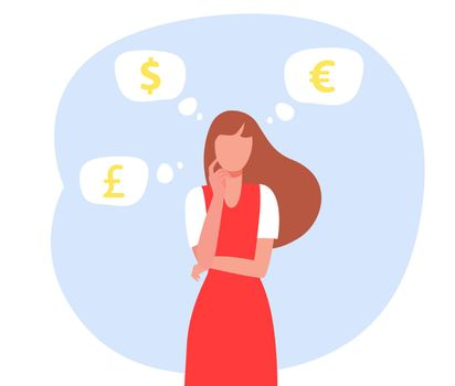 Woman thinking about currency rate