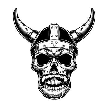 Warrior skull in horned helmet vector illustration