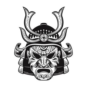 Japanese ninja in black mask