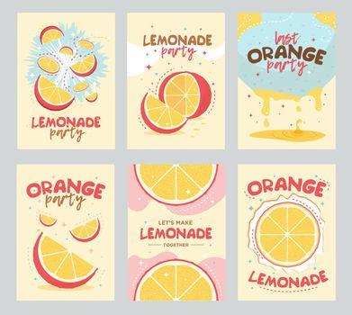 Lemonade party invitation cards design. Orange, fruit