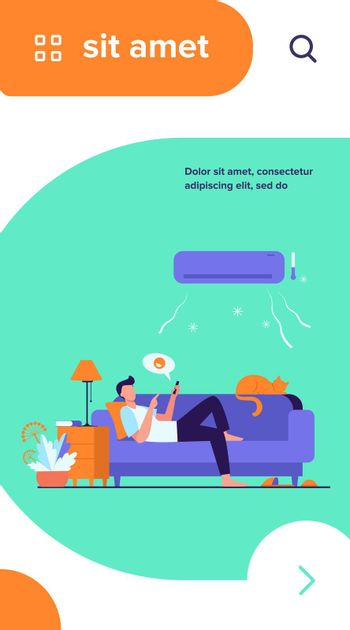 Young man relaxing at couch under air conditioner